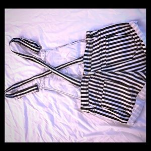 Black and white vertical stripe short overall